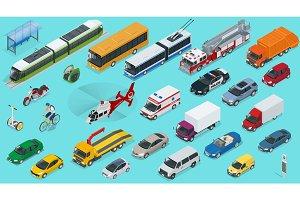 Flat 3d isometric city transport icon set. Taxi, Ambulance, trolleybus, Police, safari travel, Bicycle, Mini, Subway train, Fire-truck, cargo-truck, bus, Electric car, scooter, Sedan