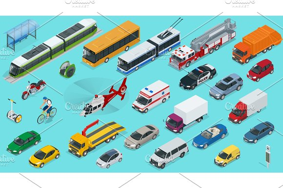 Flat 3D Isometric City Transport Icon Set Taxi Ambulance Trolleybus Police Safari Travel Bicycle Mini Subway Train Fire-truck Cargo-truck Bus Electric Car Scooter Sedan