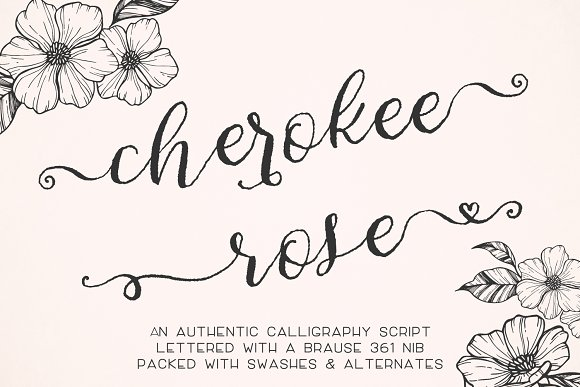 Cherokee Rose Calligraphy Script Fonts Creative Market