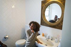 Black girl tooth brushing