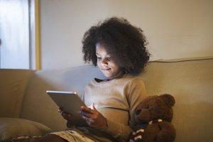 Black girl using tablet