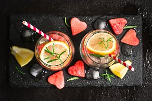 Watermelon lemon cocktail with pieces of watermelon in shape of heart. Valentine's Day Concept
