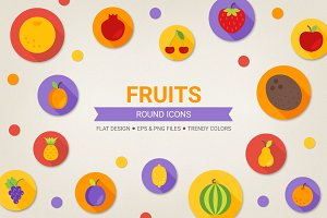 Round fruits icons