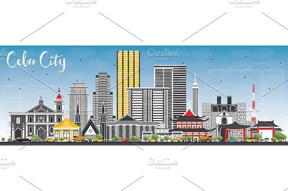 Cebu City Philippines Skyline in Illustrations