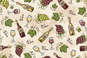 Pattern with grapes and wine