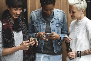 Women using smart phone