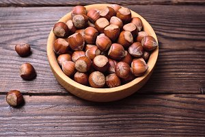 Hazelnuts in a shell