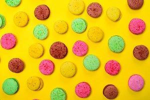 Colorful pastry macarons