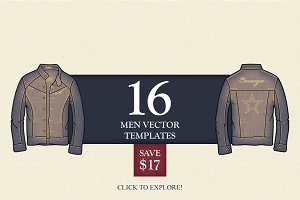 16 Men Vector Fashion Templates