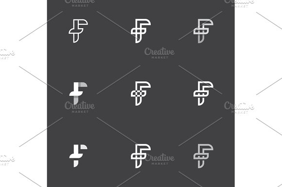 F Letter Is Combined With Inverted T The Abbreviation Sign Heraldry Mark Vector Illustrations In A Modern Vintage Style Flat Trend