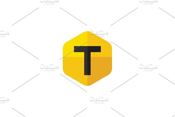 Letter T In The Form Of Abstraction Yellow Vector Into Flat Style Modern Minimalism