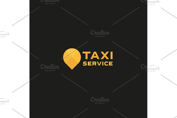 Taxi Service Logos Sign Abstract Geometrical Illustration Modern Flat In Minimalism