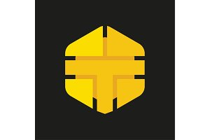 Logo Letter T in the form of abstraction yellow vector sign into flat style, modern minimalism