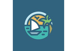 Ocean Yacht palm in minimalism style flat
