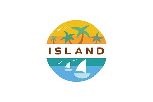 Island Yacht palm paradise illustration quality flat