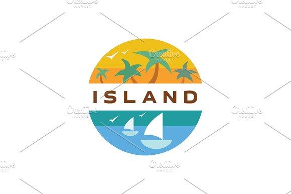 Island Yacht Palm Paradise Illustration Quality Flat