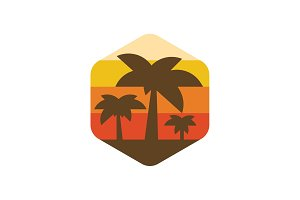 Palm trees on the island of paradise earth at sunset illustration modern trend