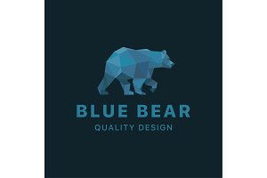 Bear low poly Blue polygons with trend style design animal illustrations