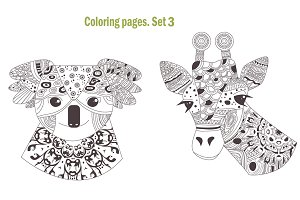 Coloring pages. Animals. Set 3