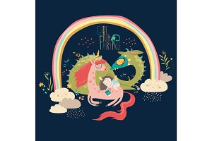 Cute cartoon dragon, unicorn and little princess
