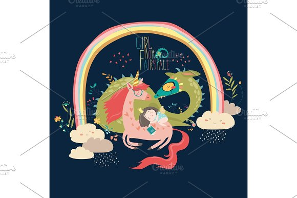Cute Cartoon Dragon Unicorn And Little Princess