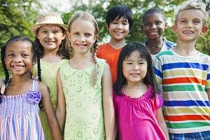 Happy kids having fun outdoors