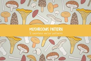 Mushrooms seamless patters