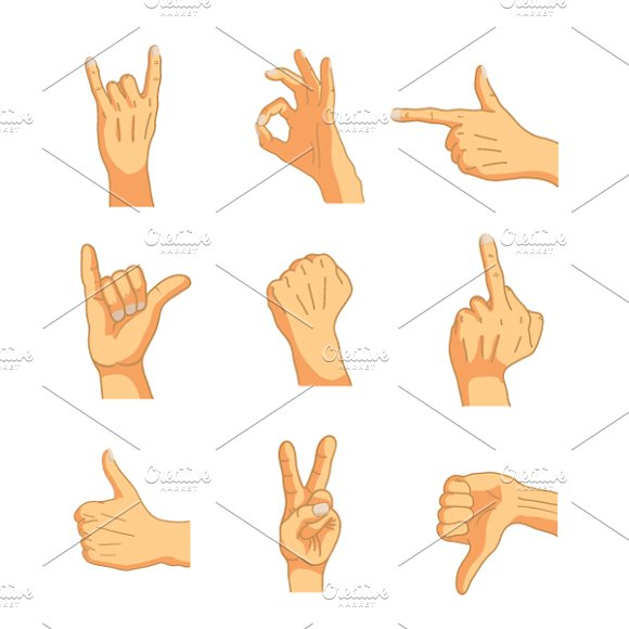 Nine Cartoon Hand Signs On White