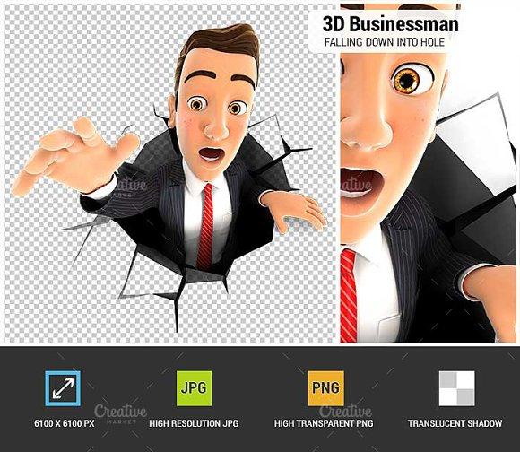 3D Businessman Into A Hole