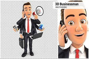 3D Businessman Multitasking
