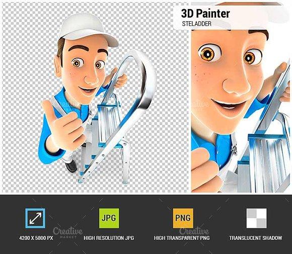 3D Painter On Stepladder