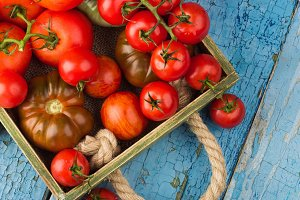 Set of different sorts of red tomatoes