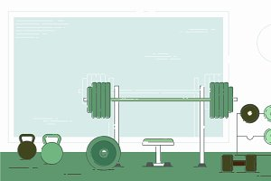 Gym exercise equipment room interior indoor set. Linear stroke outline flat style icons. Monochrome cycle bike power weight lifting gymnastics rings ball wall bars icon collection