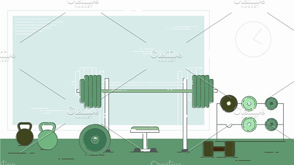 Gym Exercise Equipment Room Interior Indoor Set Linear Stroke Outline Flat Style Icons Monochrome Cycle Bike Power Weight Lifting Gymnastics Rings Ball Wall Bars Icon Collection