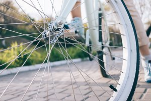 Closeup of bike wheel