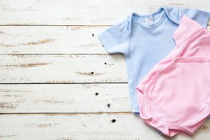 Pink and blue baby romper