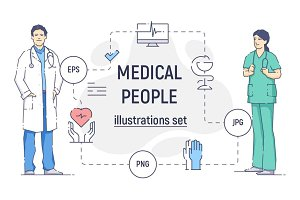 Medical people illustration set