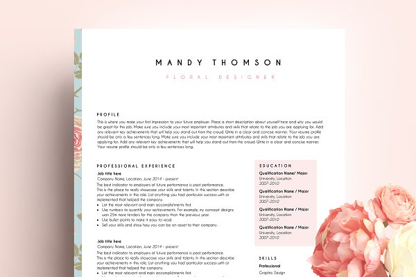 Resume Templates: PinkJellyfish - resume template ms word floral