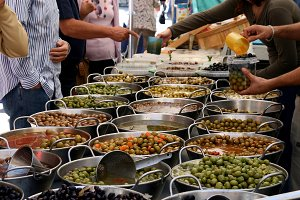 Local market of olives