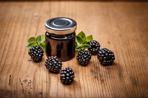 Jar with blackberry jam