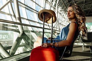 Young woman traveler in the airport.