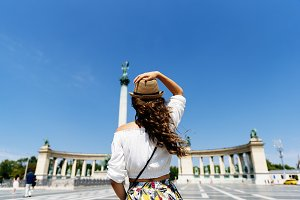 Woman traveling by Budapest.
