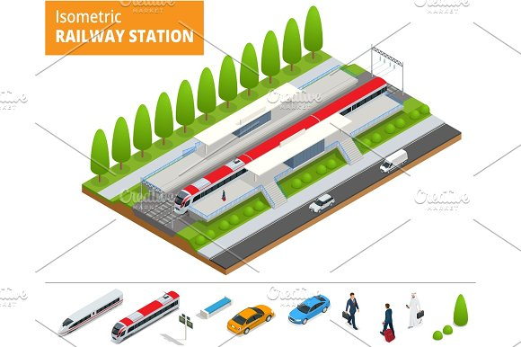 Vector Isometric Infographic Element Railway Station Building Terminal City Train Building Facade Train Station Public Train Station Building With Passenger Trains Platform Related Infrastructure