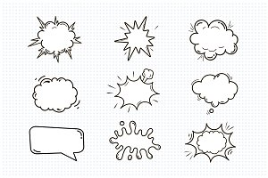 Empty comic sound speech bubbles