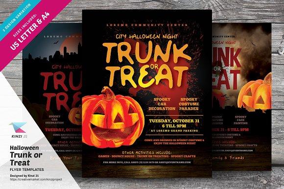 Halloween Trunk Or Treat Flyers Flyer Templates Creative Market