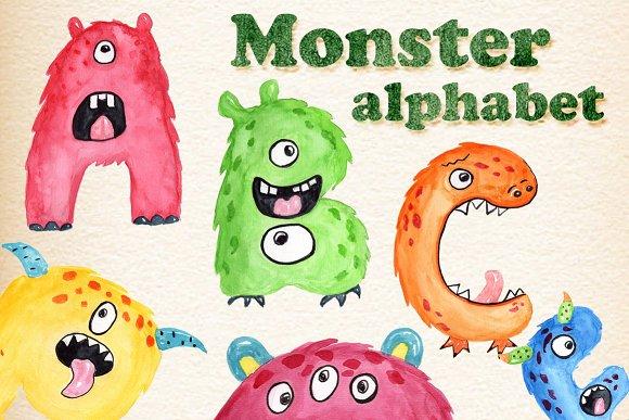 Monster Kids Alphabet Clipart