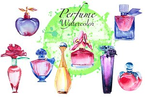 Perfume watercolor illustration
