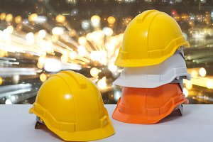 Safety helmet stacked
