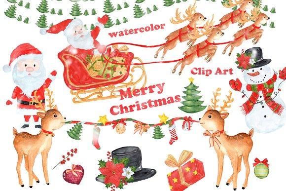 Watercolor Christmas Santa Clipart