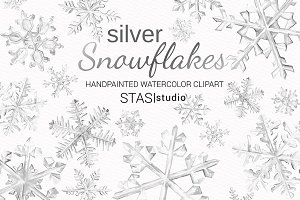 Snowflakes Watercolor Clipart